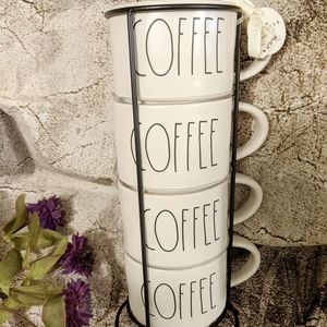 Rae Dunn Stackable 4 Coffee Ceramic Cups w/Stand
